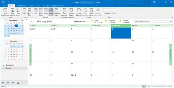 ae1dd445614b00 Click on the Calendar button in the Navigation pane to access toe Calendar  module.