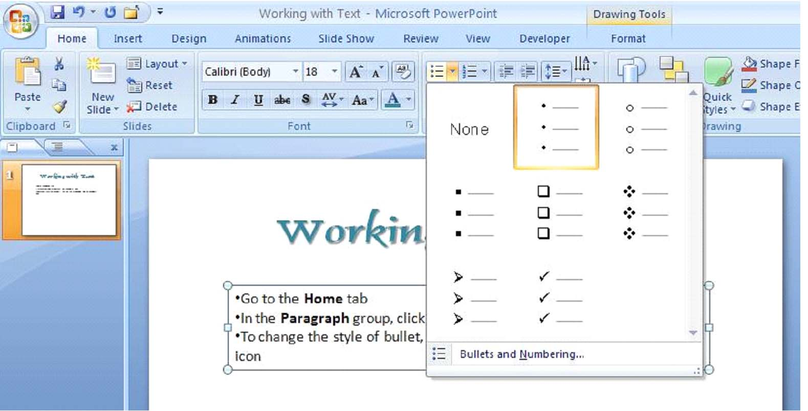 How to Work with Text in PowerPoint 2007 | UniversalClass
