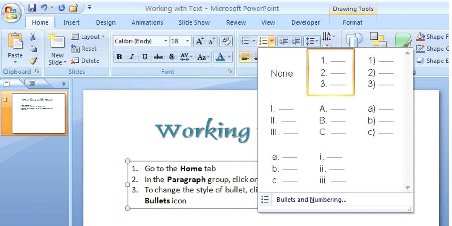 How to Work with Text in PowerPoint 2007   UniversalCl Home Tab Microsoft Word Art Designs on voting in microsoft word tab, twitter home tab, microsoft word home toolbar, onenote home tab, mac home tab, microsoft office tab, microsoft word home bar, paint home tab, excel home tab, microsoft word home button, windows home tab, start microsoft tab, microsoft word tools tab, microsoft word design tab, microsoft word mailings tab, microsoft access 2010 home tab, microsoft word references tab,