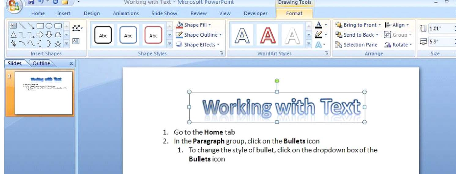 How to Work with Text in PowerPoint 2007 | UniversalCl Home Tab Microsoft Word Art Designs on microsoft word home bar, windows home tab, excel home tab, mac home tab, microsoft word references tab, microsoft access 2010 home tab, microsoft word home toolbar, paint home tab, microsoft word tools tab, microsoft word home button, start microsoft tab, microsoft word mailings tab, microsoft office tab, twitter home tab, microsoft word design tab, onenote home tab, voting in microsoft word tab,