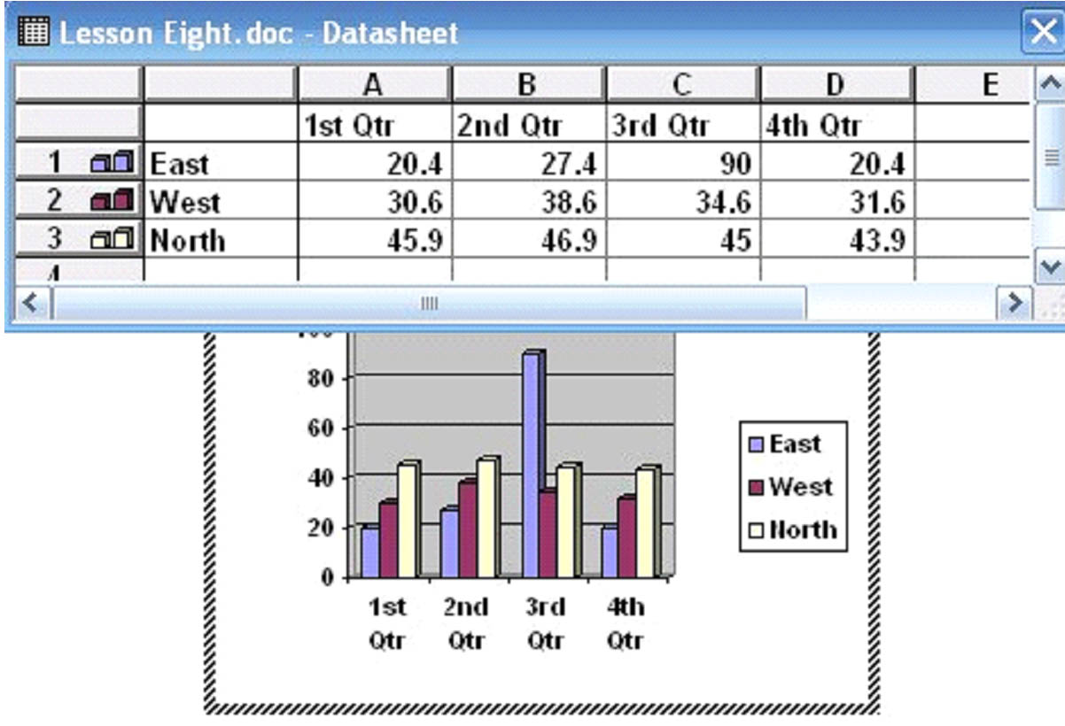 Word 2003 how to insert pictures charts and forms universalclass you can edit the text in the spreadsheet box to fit the data for your chart ccuart Image collections