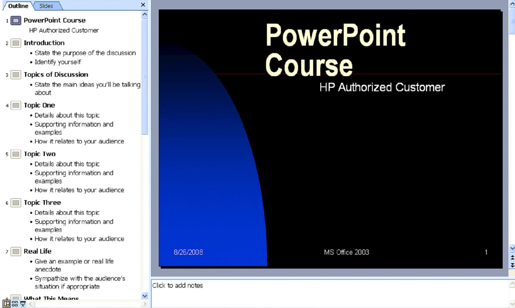 Powerpoint 2003 how to create presentations universalclass now you can click on any slide in the outline pane and it will appear in the slide panel to change the text in any slide select the slide in the outline toneelgroepblik Gallery