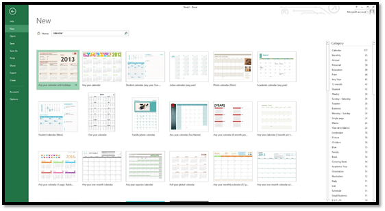 excel then searches its online database for a calendar template then shows you the results