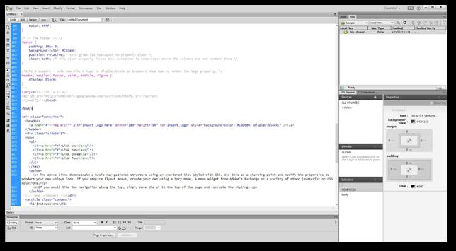 how to create a 2 column website in dreamweaver