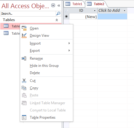how to create a database in access 2013