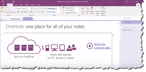 Getting Started and Learning How to Create in OneNote 2016